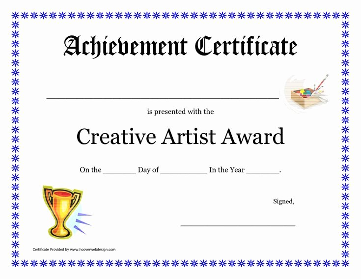 Jones Awards Certificate Templates Awesome Creative Artist Award Printable Certificate Pdf Cakepins