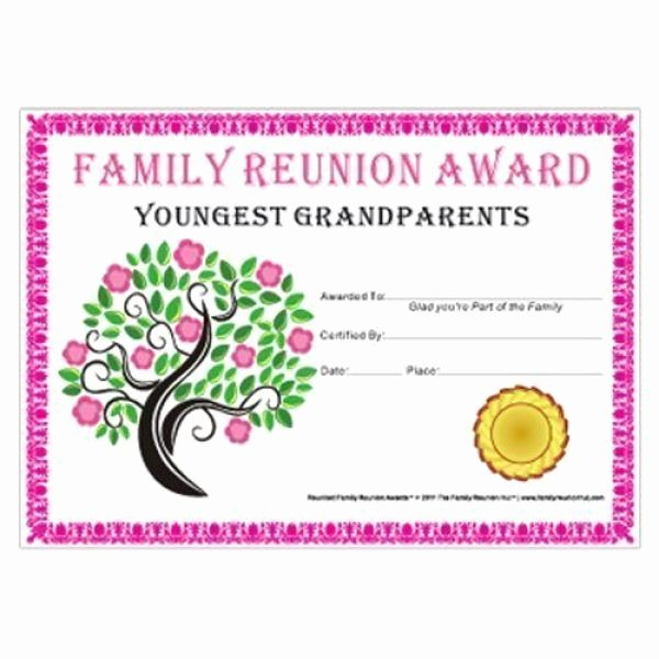Jones Awards Certificate Templates Best Of Youngest Grandparents Award Tree In Bloom theme Free