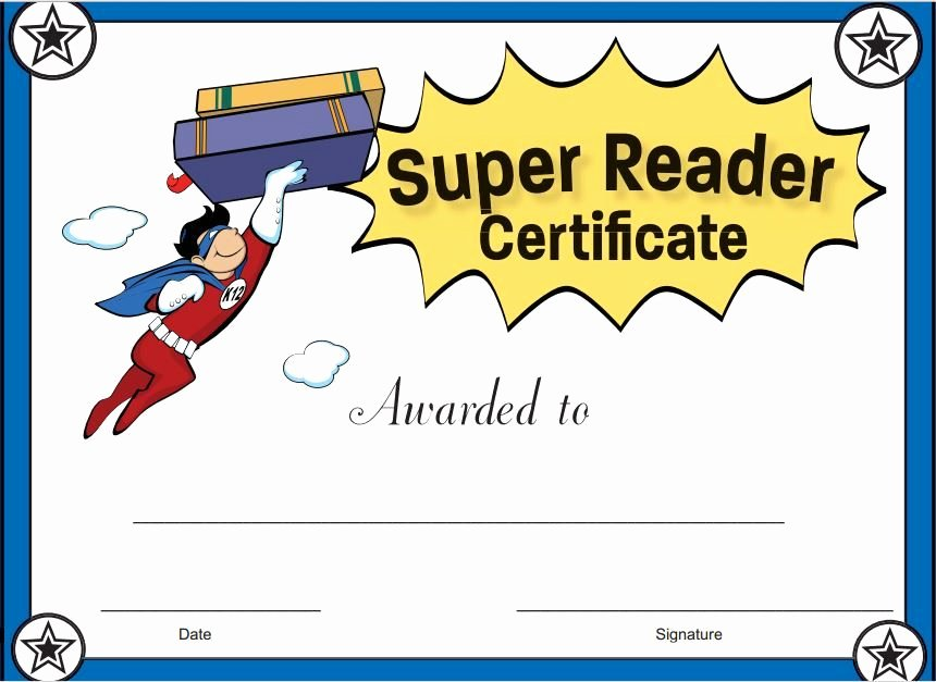 Jones Awards Certificate Templates Luxury Super Reader Certificate for Boys Reward Your Students