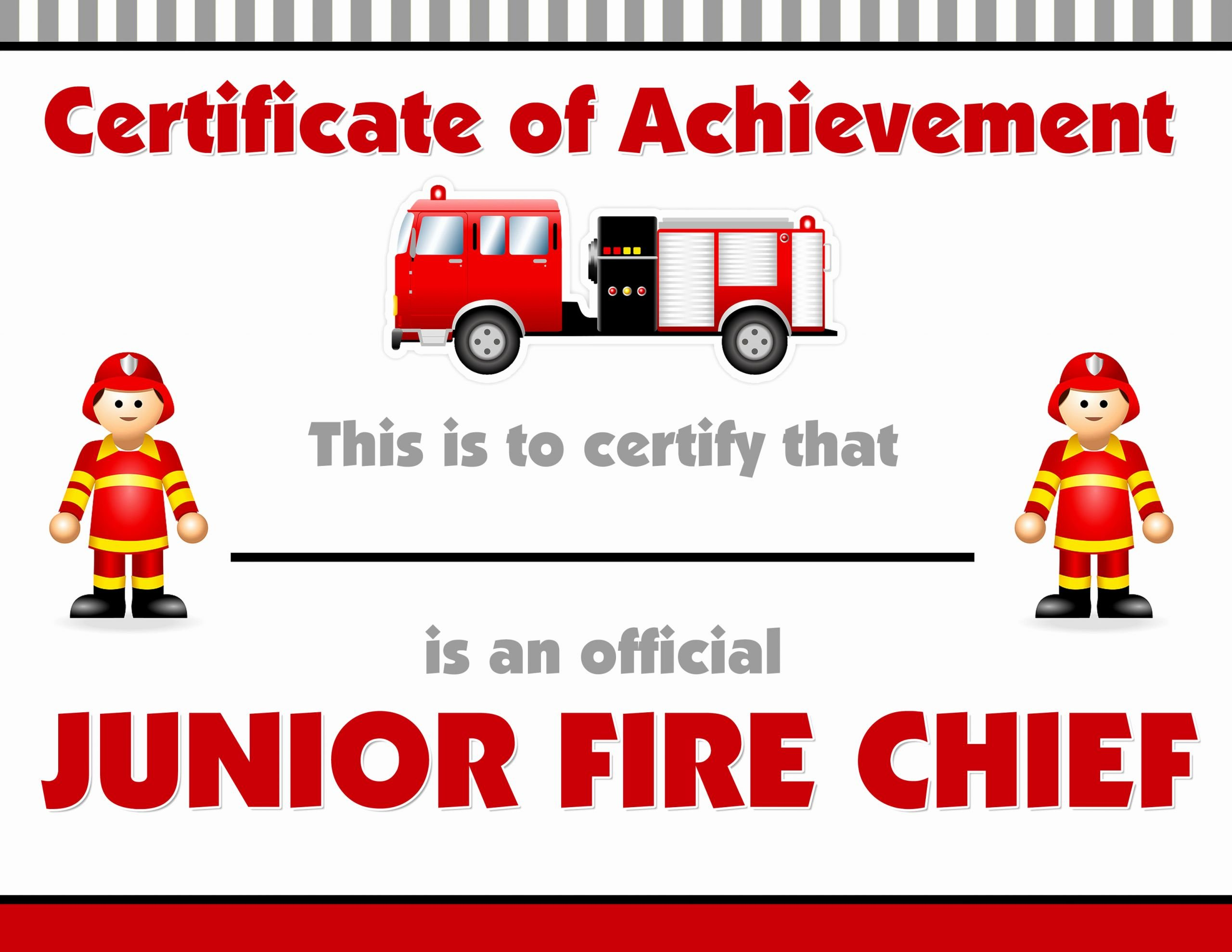 Junior Achievement Certificate Of Achievement Template Luxury Firetruck themed Birthday Party with Free Printables How
