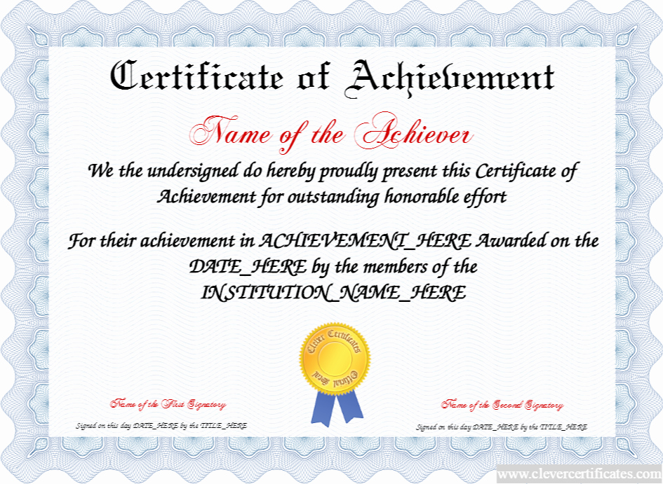 Junior Achievement Certificate Of Achievement Template New Certificate Of Achievement Free Certificate Templates