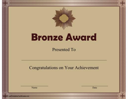 Junior Achievement Certificate Template Awesome Printable Bronze Award Certificate