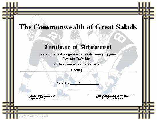 Junior Achievement Certificate Template Inspirational Printable Certificates Hockey and Sticks On Pinterest