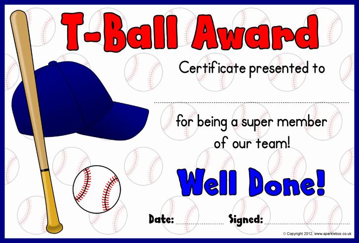 Junior Achievement Certificate Template Unique T Ball Award Certificates Baseball
