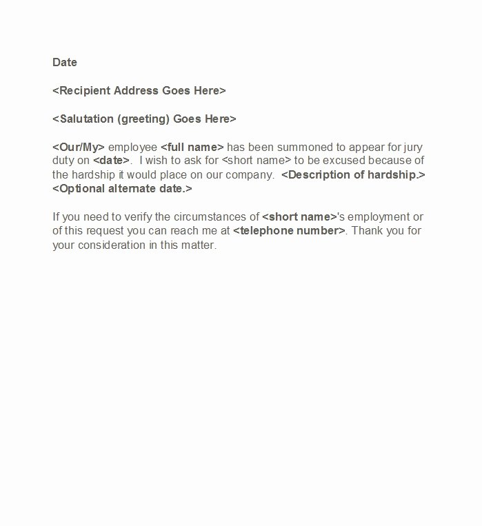 Jury Duty Excuse Letter Sample Vacation Elegant 33 Best Jury Duty Excuse Letters [ Tips] Template Lab