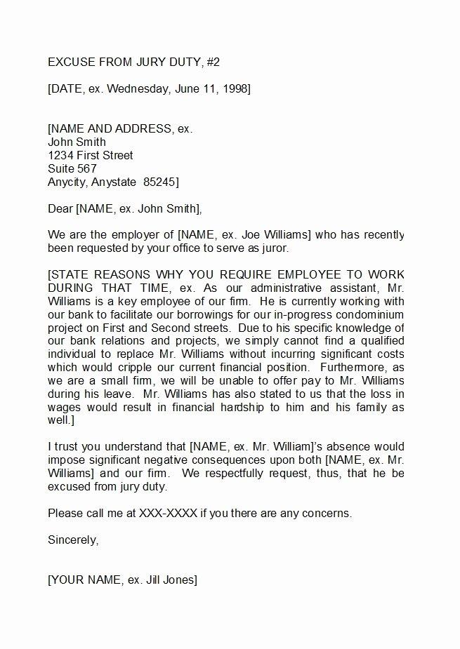Jury Duty Hardship Letter From Employer Awesome Jury Duty Excuse Letter Employer Pdf 1
