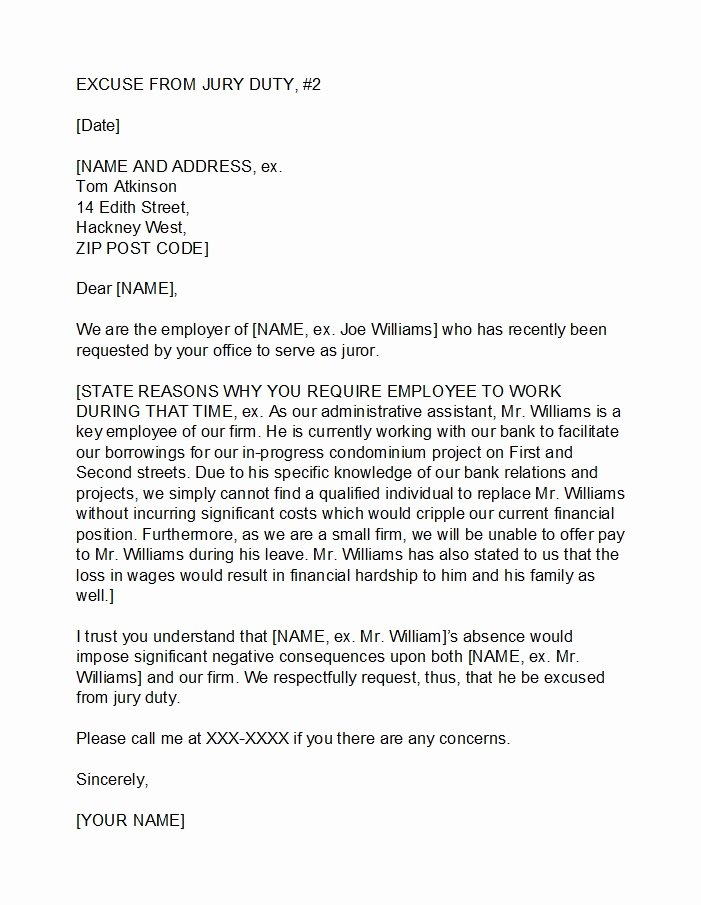 Jury Duty Hardship Letter From Employer Beautiful 33 Best Jury Duty Excuse Letters [ Tips] Template Lab
