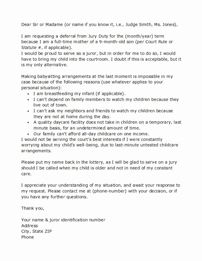 Jury Duty Hardship Letter From Employer Elegant 33 Best Jury Duty Excuse Letters [ Tips] Template Lab