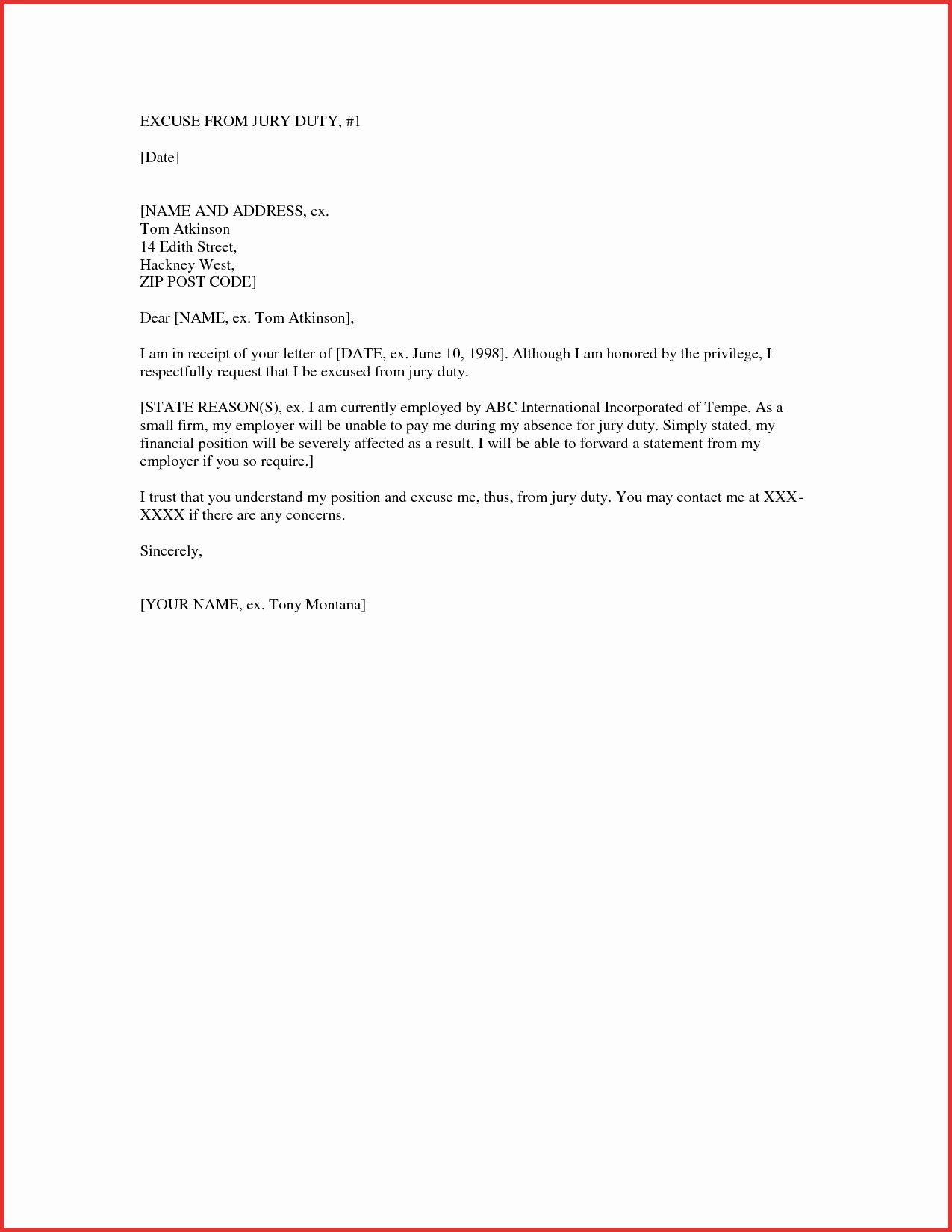 Jury Duty Hardship Letter From Employer New 9 Example Of Jury Duty Excuse Letter