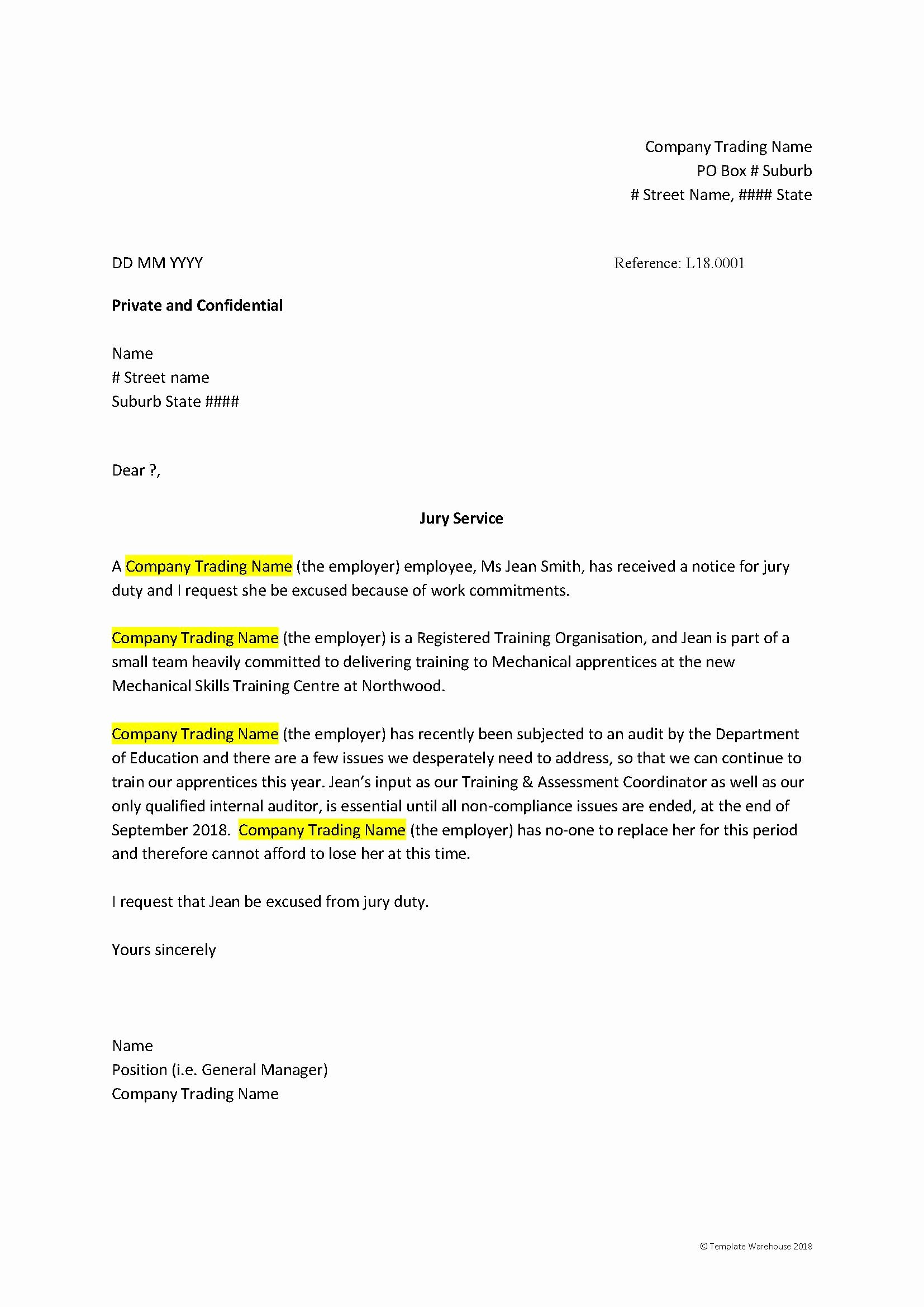 Jury Duty Letter for Employer Inspirational Hrm 03 005 – Request Excused From Jury Service Letter 1