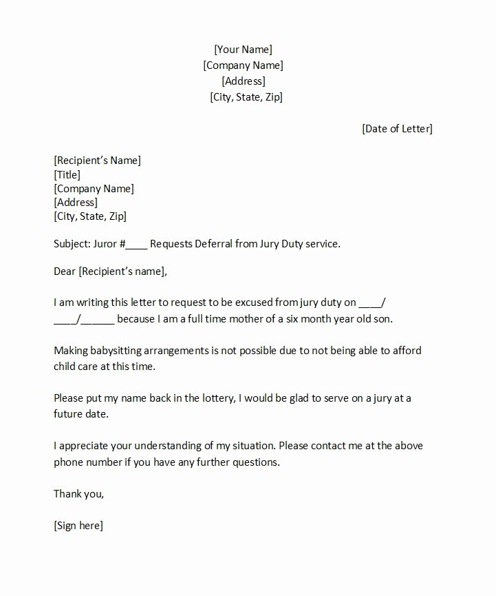 Jury Duty Letter for Employer Luxury 33 Best Jury Duty Excuse Letters [ Tips] Template Lab