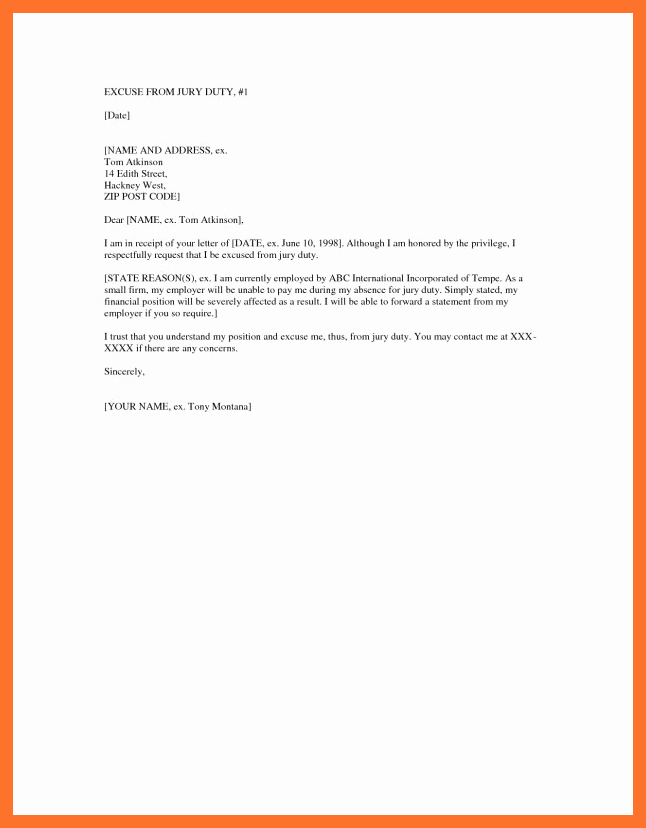 Jury Duty Letter for Work Luxury 14 15 Jury Letter Excuse Sample