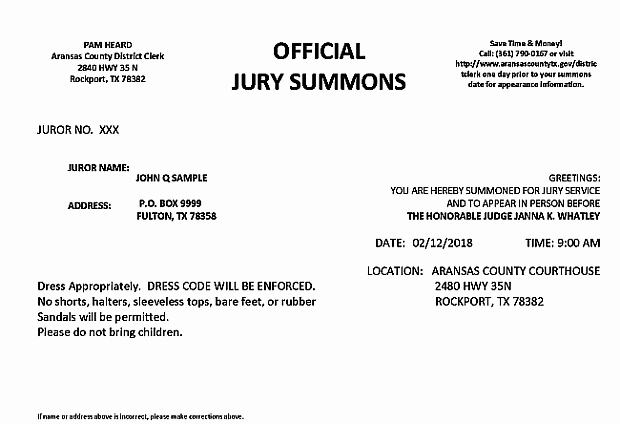 Jury Duty Letter for Work Luxury Aransas County Jury Summons Information