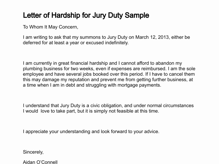 Jury Duty Letter From Employer Inspirational How to Write A Hardship Letter for Jury Duty