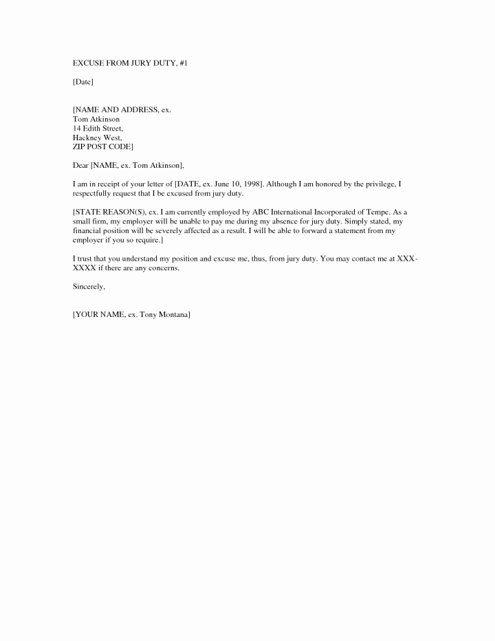 Jury Letter Excuse Sample Fresh 12 13 Letter to Be Excused From Jury Duty