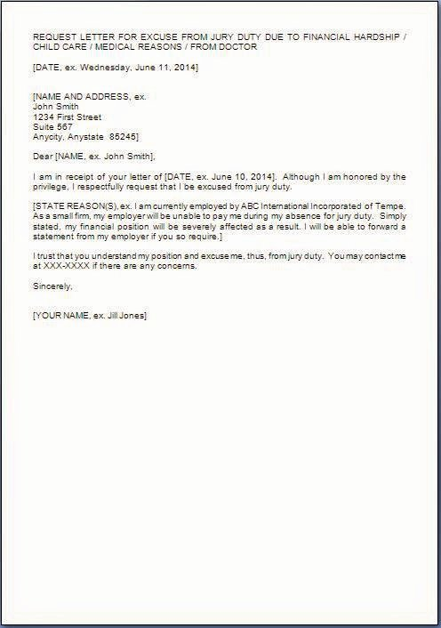 Jury Letter Excuse Sample Fresh Jury Duty Excuse Letter Template