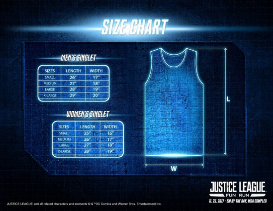 Justice Size Chart Best Of Justice League Fun Run