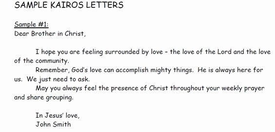 Kairos Letter Examples Beautiful An Example Of A Kairos Letter Each Participant Receives A