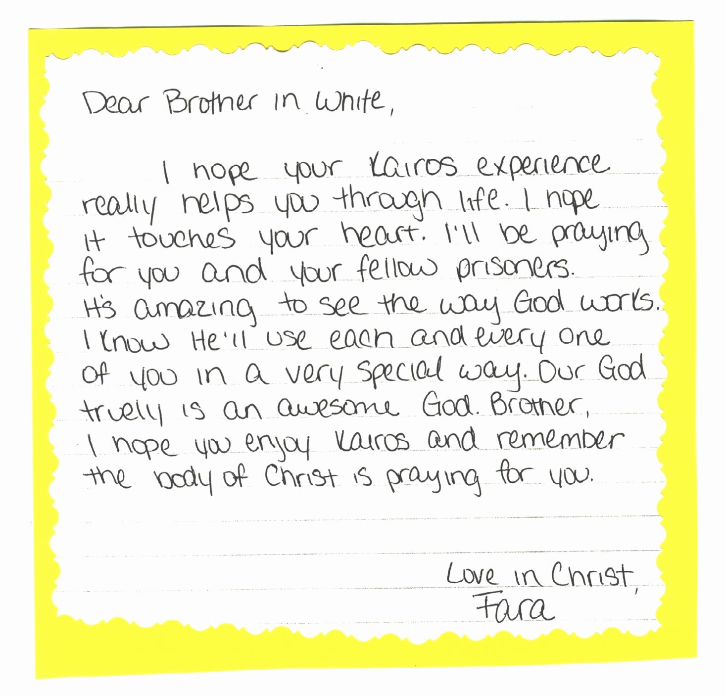 Kairos Letters From Parents Unique Support Letter for Inmate