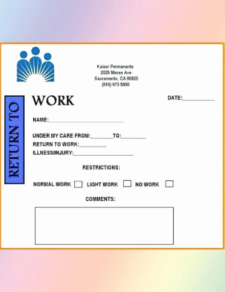 Kaiser Doctor Note Unique How to Get A Return to Work Doctor S Note 5 Best