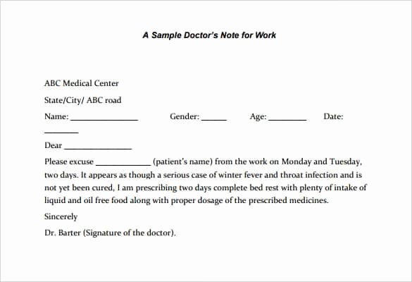 Kaiser Permanente Doctors Sick Note Unique 4 Printable Doctor S Note for Work Templates Pdf Word