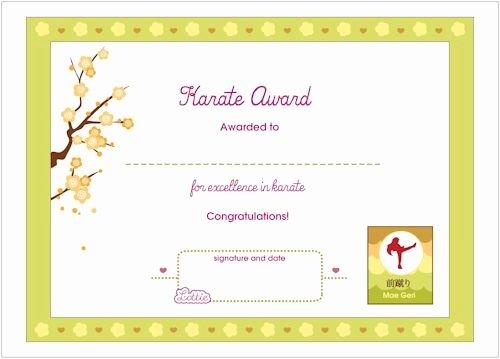 Karate Certificate Templates Free Download Elegant Karate Printable Award Certificate