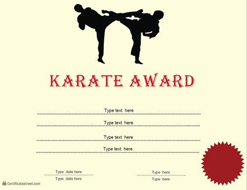 Karate Certificate Templates Free Download New Sports Certificates Karate Award