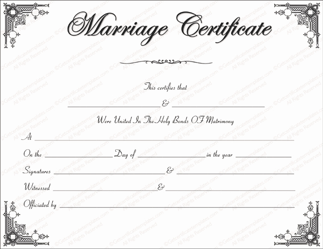 Keepsake Marriage Certificate Template Elegant Marriage Certificate Template Write Your Own Certificate