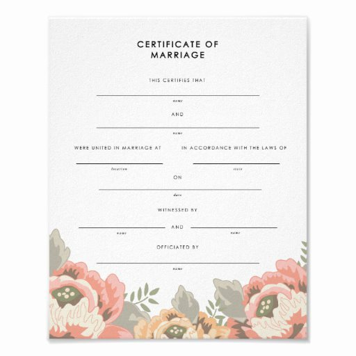 Keepsake Marriage Certificate Template Lovely Vintage Floral Keepsake Marriage Certificate Poster