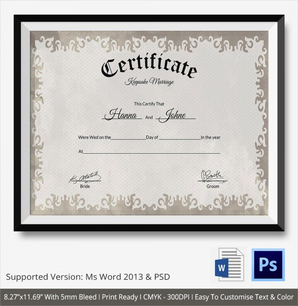 Keepsake Marriage Certificate Template Luxury 19 Marriage Certificate Templates