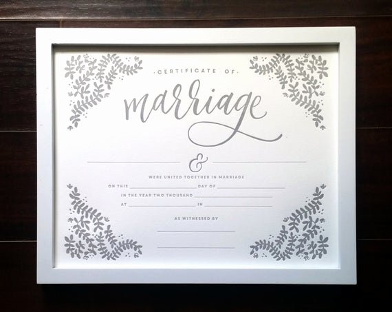 Keepsake Marriage Certificate Template New Marriage Certificate 11x14 Letterpress Print Art Print