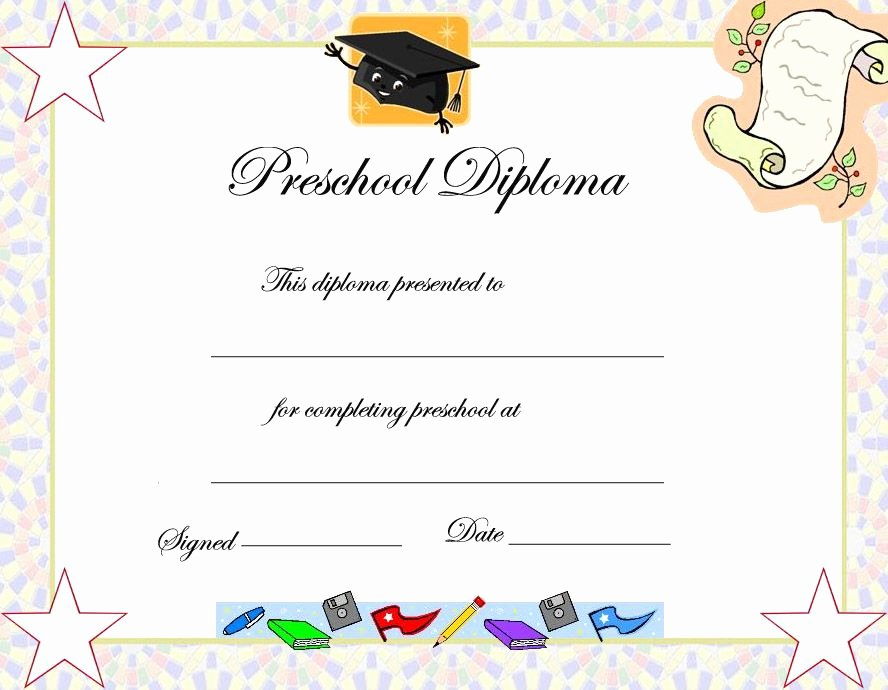 Kindergarten Diploma Template Free Beautiful Preschool Graduation Certificate Template