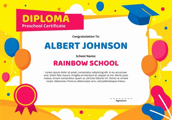 Kindergarten Diploma Template Free Fresh Kindergarten Diploma Certificate Template Download Free