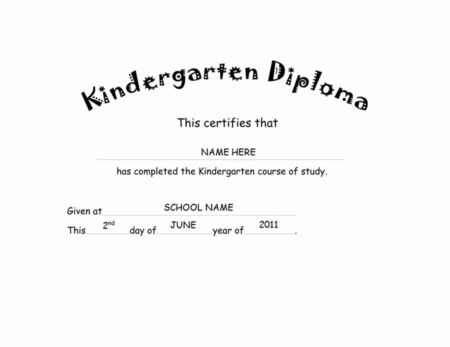 Kindergarten Diploma Template Word Awesome Kindergarten Diploma Free Word Templates & Clipart