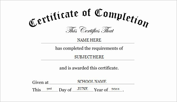 Kindergarten Diploma Template Word Elegant Certificate Templates 7 Certificates Of Pletion