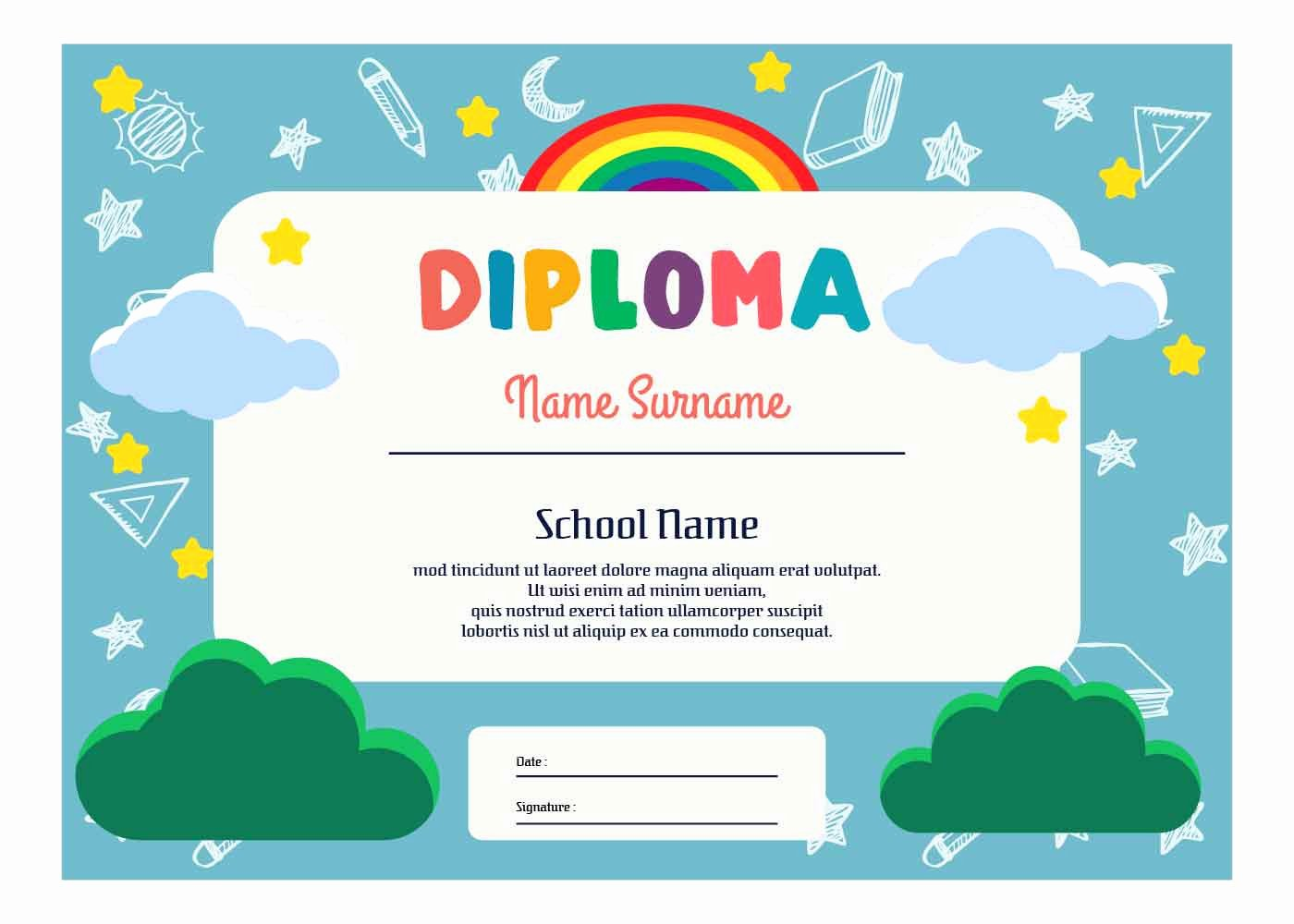 Kindergarten Diploma Template Word Elegant Kindergarten Diploma Template Vector Download Free