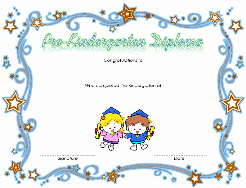 Kindergarten Diploma Template Word Elegant Pre K Diploma Certificate Editable 10 Great Templates
