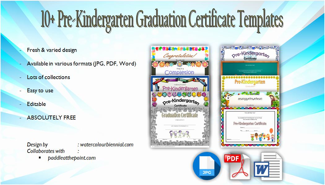 Kindergarten Diploma Template Word New 10 Free Editable Pre K Graduation Certificates [word Pdf]