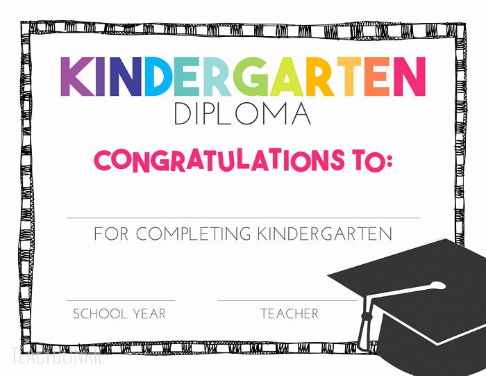 Kindergarten Graduation Certificate Free Printable Elegant Free Pre K and Kindergarten Graduation Diplomas Teach Junkie
