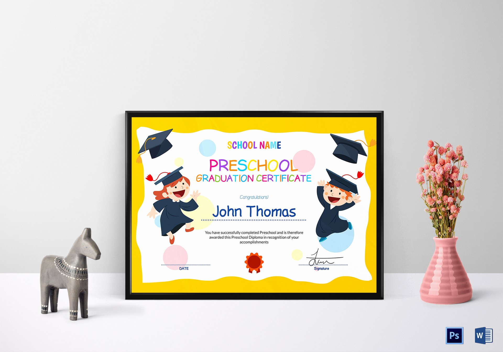 Kindergarten Graduation Certificate Template Awesome Preschool Graduation Certificate Design Template In Psd Word
