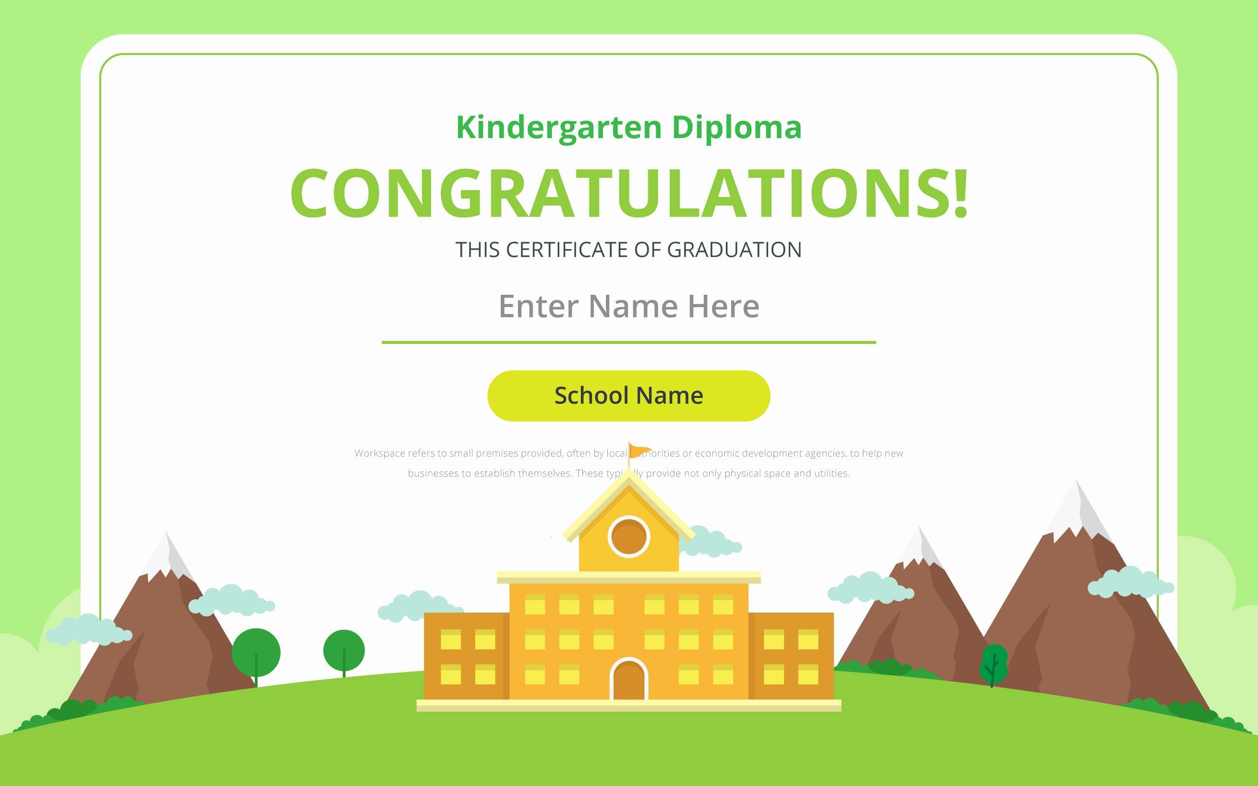 Kindergarten Graduation Certificate Template Beautiful Kindergarten Diploma Certificate Template Download Free