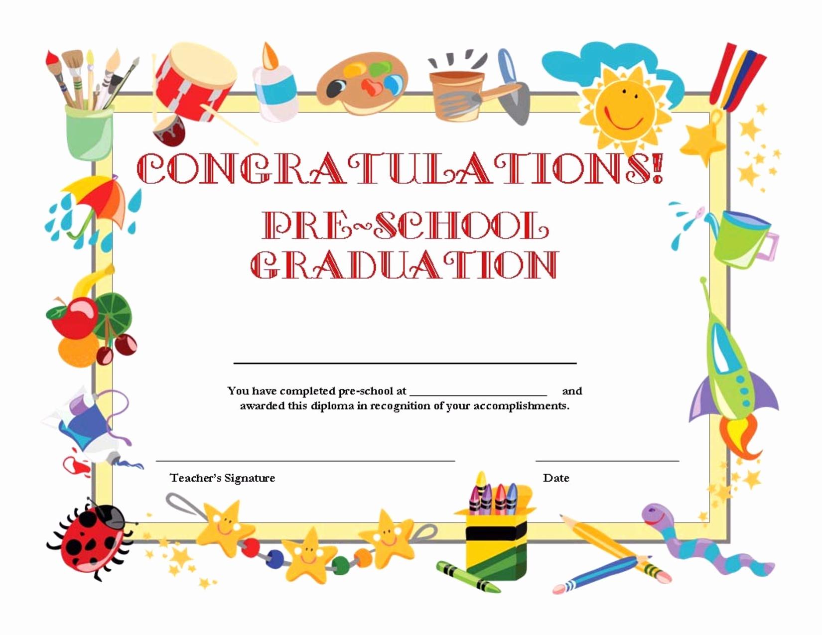 Kindergarten Graduation Certificate Template Elegant Preschool Graduation Certificate Template Free