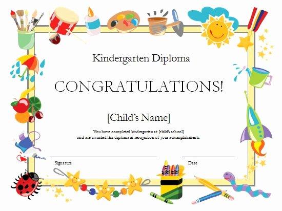 Kindergarten Graduation Certificate Template New Kindergarten Diploma Certificate Templates Fice