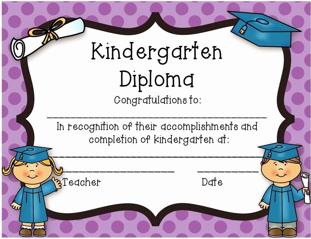 Kindergarten Graduation Certificate Template New Kindergarten Diploma Freebie