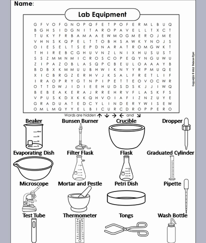 Lab Symbols Worksheet New Lab Equipment Word Search by Sciencespot Teaching