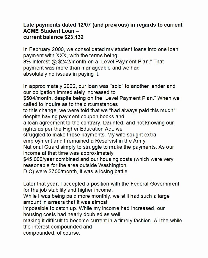 Late Payment Explanation Letter for Mortgage Fresh 48 Letters Explanation Templates Mortgage Derogatory