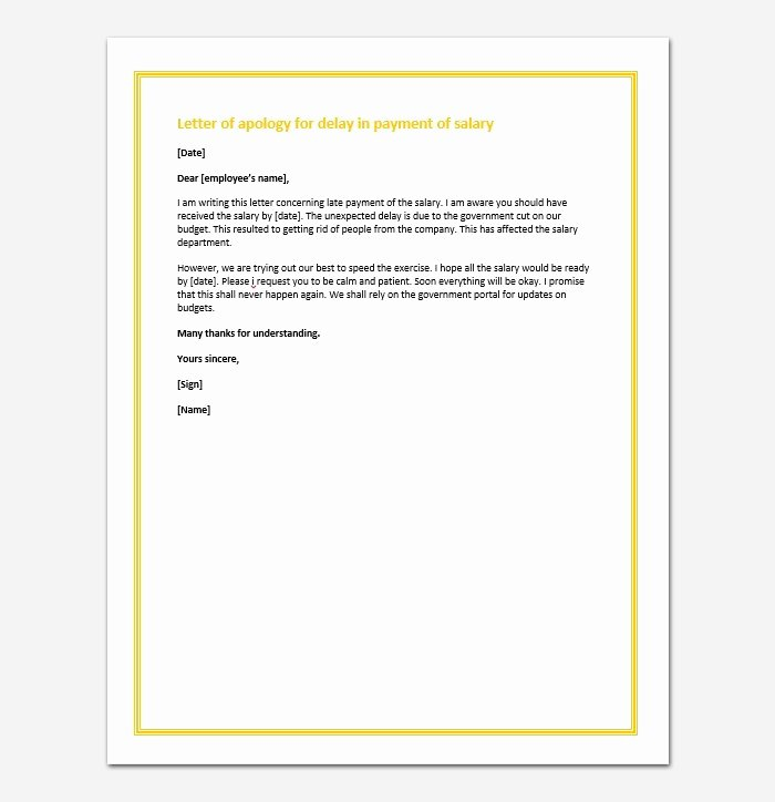 Late Payment Explanation Letter Inspirational Letter Of Apology for Delay In Payment Sample Letters