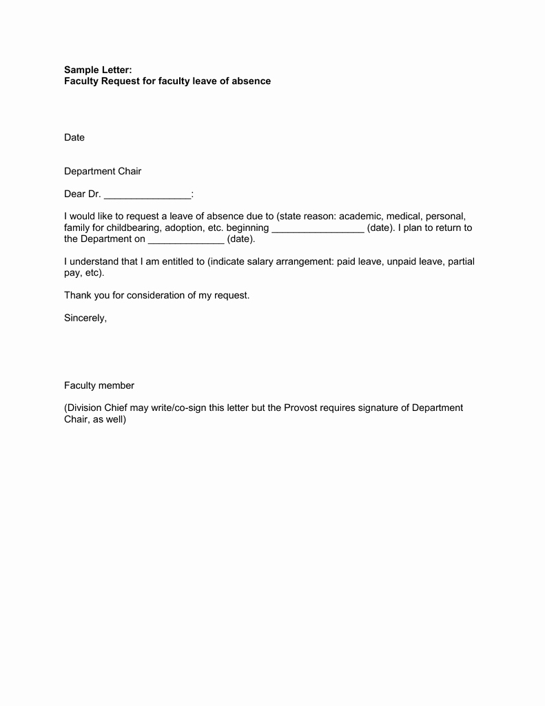 Leave Of Absence Letter for Personal Reasons Beautiful Sample Letter Faculty Request for Faculty Leave Of
