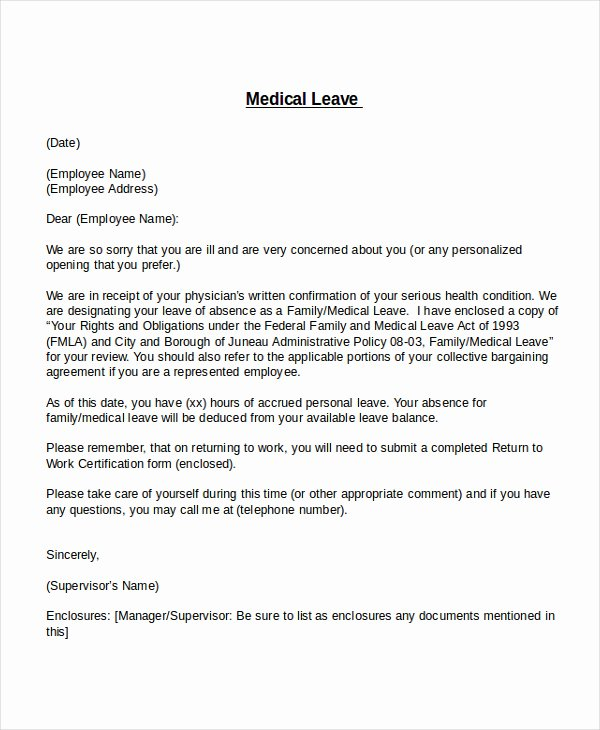 Leave Of Absence Letter for Personal Reasons Elegant Leave Of Absence Letter Templates Vacation Sick