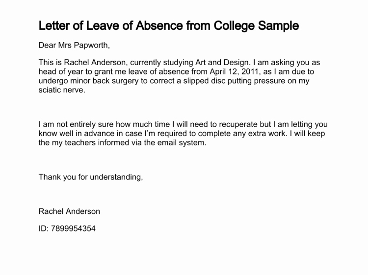 Leave Of Absence Letter for Personal Reasons Elegant Letter Of Leave Of Absence